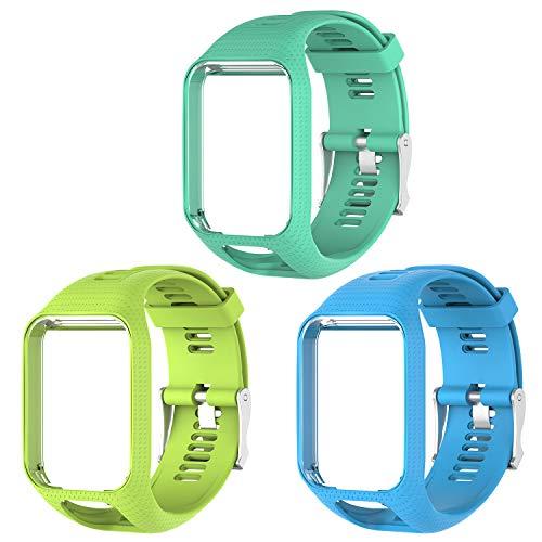Kit com 3 pulseiras Pulseira de Silicone Tom Tom Para Relógio Tomtom Runner 2/3 / Spark/Adventurer/Golfer/Cardio