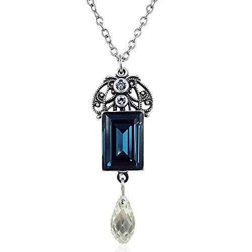 nobel-schmuck Jugendstil Kette mit Kristallen von Swarovski® Blau Silber