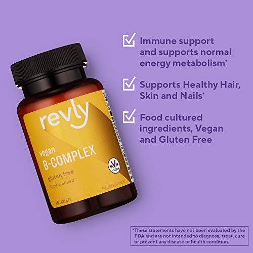 Amazon Brand - Revly Vegan B-Complex, Supports Immune and Normal Energy Metabolism, 60 Tablets, 1 Month Supply, Food-Cultured, Gluten Free