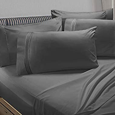Clara Clark Premier 1800 Collection 6pc Bed Sheet Set Extra Pillowcases - King, Charcoal Stone Gray