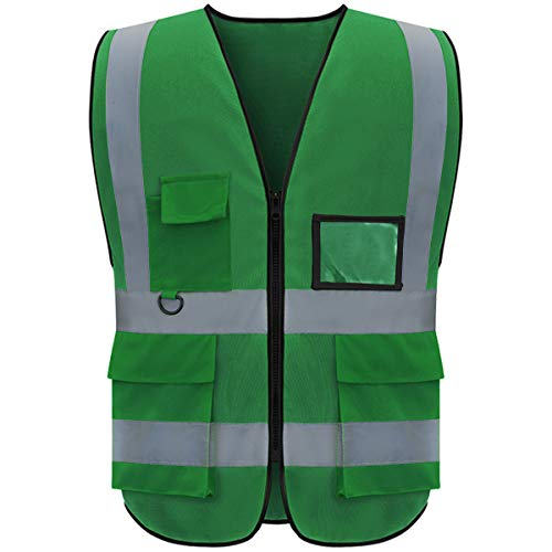 evershare 1 Pack, Class 2 High Visibility Safety Vests Reflective with Pockets and Zipper Bright Breathable High Reflective Strips Mesh Fabric Security Vest Meets ANSI/ISEA Standards (XL), Green