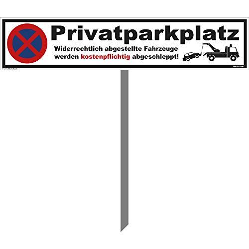kleberio® Parkplatz Schild - Privatparkplatz - 52 x 11 cm mit Pfosten (1 Meter), Parken verboten, Privatgrundstück, Verbotsschilder, Privat, Parkplatzschilder, Parkverbot, Parkschilder, Autoschilder