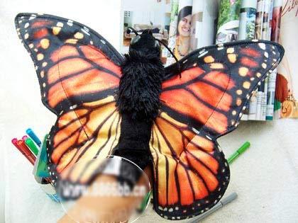 LIZHIOO Handpuppe 38cm blau Schwalbenschwanz Schmetterling Handpuppe hohe Simulation Schmetterling Insekt Plüsch Puppe Handpuppe Lernen Babyspielzeug ( Color : C , Height : Width 38cm )