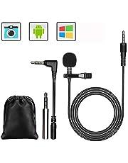 GeekerChip 3.5mm Mini Microfono, Microfono Lavaliera Condensatore Omnidirezionale,Microfono per Cellulare con 2 Adattatore per Registrazione di Interviste/Conferenza Video/Podcast/Voice Dictation