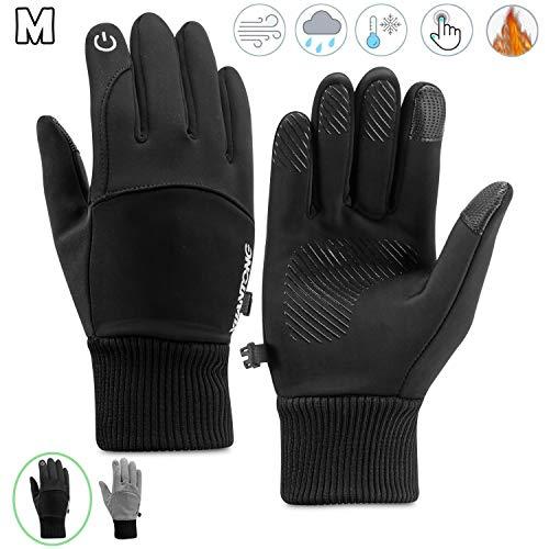 Kasimir Outdoor Handschuhe Doppelt Wasserdicht Touchscreen Handschuhe Kalte Winterhandschuhe Wasserfeste Anti-Rutsch Fahren Radfahren Männer Frauen Schwarz M
