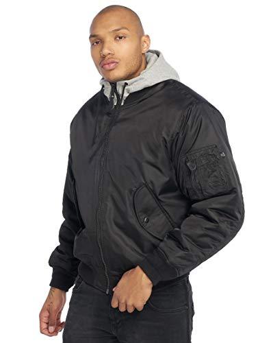 Brandit MA1 Sweathood Bomberjacke, schwarz mit Grauer Kapuze, Größe XL