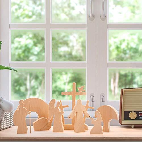 Hunpta - Juego de pesebre de madera, 8 piezas, decoración navideña, lleva el espíritu y mensaje de resurrección, imparte conocimiento a los niños mientras juegan (multicolor)