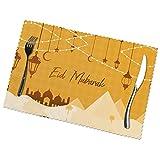 Ramadan Place Mats Eid Mubarak Individuals para Mesa De Comedor 6Pcs/Set Placemats No Fading Easy Clean for Kitchen