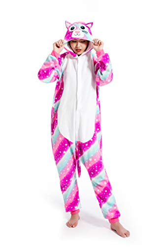 Unisexe Onesie Licorne Animal Costume Pajamas Outfit Nuit Animation Vêtements,Chat Rose,S fit for...