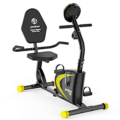 pooboo Recumbent Exercise Bike with Adjustable Magnetic Resistance?Indoor Cycling Stationary Bike with Speed, Time, Distance, Calorie Monitor