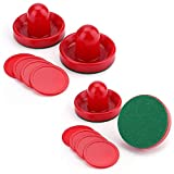 Faswin Home Standard Air Hockey Replacement Pucks & Slider Pusher Goalies for Game Tables, Equipment, Accessories(4 Striker, 8 Puck Pack)