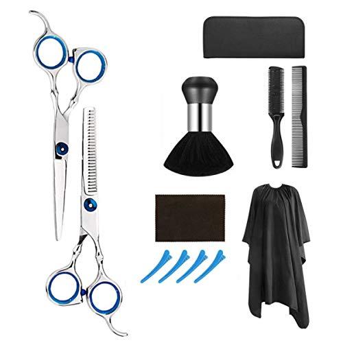 Camidy 12-Teiliges Friseurscheren-Set für Den Haarschnitt Professionelle Haarschneideschere mit Dünner Werdender Schere Haarkamm-Cape-Clips Etui für Friseur-Friseurset