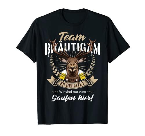 Herren Team Bräutigam Hirsch JGA Junggesellenabschied Männer Saufen T-Shirt