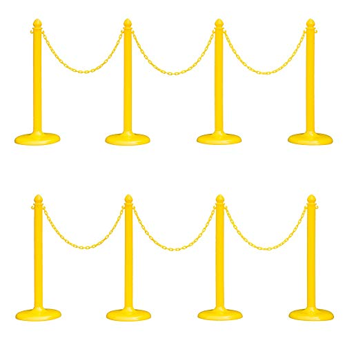 Plastic Safety Queue Stanchion Barrier Set with 64' Chain 8 PCS and C-Hook (Yellow (8 pcs Set with New Upgrade Version))
