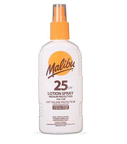 MALIBU LOTION SPRAY 200ml HAUT MEDIUM BAS UVA/PROTECTION UVB SOINS SOLAIRES PRODUITS - SPF25 200ml