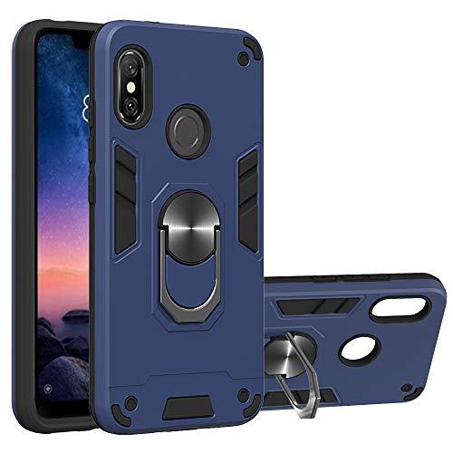 NR Funda Xiaomi Redmi 6 Pro/Xiaomi Mi A2 Lite, Antigolpes Doble Capa Duro PC + Suave Silicona TPU Bumper Case Carcasa para Xiaomi Redmi 6 Pro/Mi A2 Lite, con 360 Anillo iman Soporte - Azul Rea