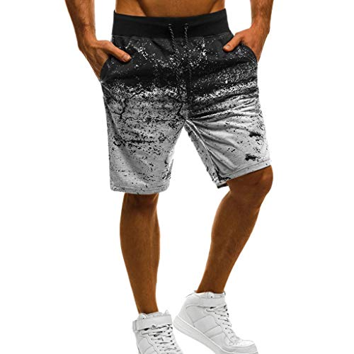 ZYUEER Herren Hosen Freizeithose Männer Casual Sommer Sport Jogger Fitness Print Kordelzug Kurze Hose Shorts Jogginghose Trainingshose