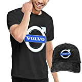 AOCCK Camisetas y Tops Hombre Polos y Camisas, Design The White Volvo Logo T Shirt with Hats for Man 100% Organic CottonO-Neck Black