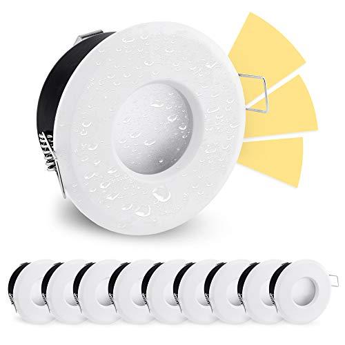linovum 10er Set LED Einbaustrahler wasserfest IP65 mit fourSTEP 5W warmweiß 230V - Dimmbar ohne Dimmer Einbauspot weiß rund
