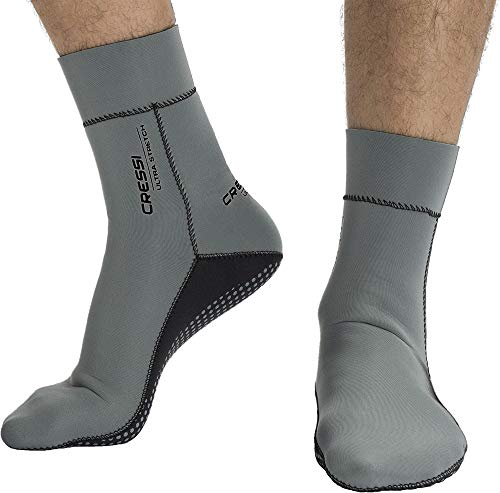 Cressi Ultra Stretch Neoprene Socks Neoprensocken, Grau/Schwarz, Small