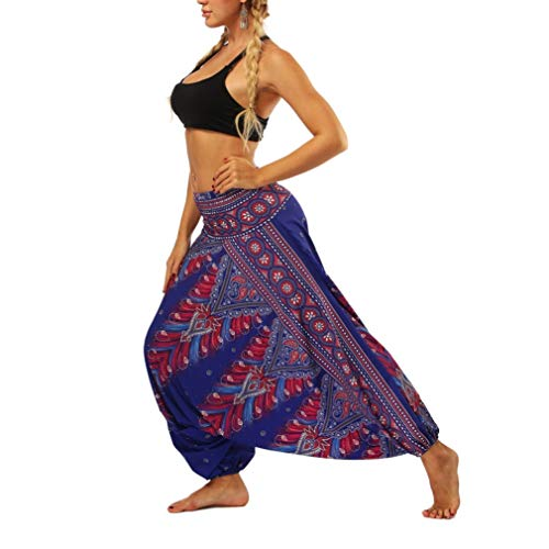 Thai Classic Harem Yoga Pants Frauen Gedruckt Stretchy Wide Leg Pants Smocked High Waist Pants
