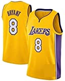 Zxwzzz Maillot De Basketball Masculin No.8 Kobe Bryant Lakers Jersey, Sport, Unisexe Manches Brodé De Basket-Ball Maille Swingman Top en Jersey (Color : Yellow, Size : Medium)