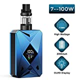 Cigarette Electronique Kit Complet, Cigarettes Électroniques,Batterie rechargeable 2000mah, 100W, No E Liquid, No Nicotine (blue)