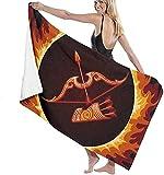 Toalla De Playa, Zodiac of Sagittarius In Fire Manta De Playa Extragrande para Adultos Y Niños Súper Suave Y Absorbente Rápido