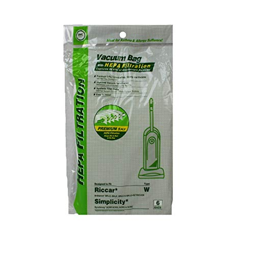 DVC Brand Hepa Vacuum Type W Bags Fits Riccar and Simplicity 6 Pack