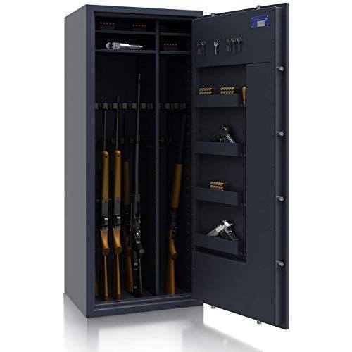 SafeHero Waffenschrank Klasse 1 EN 1143-1 Secureo Hawk 16 XL Kombi | Schlüsselschloss | für 16 Langwaffen und Kurzwaffen inkl. Munition | 1600x655x500 | 242 kg