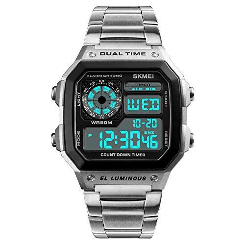 Relojes Digital Cuadrado Multifuncional Relojes Hombre Cronómetro Alarma Relojes Acero Inoxidable Plata Casual