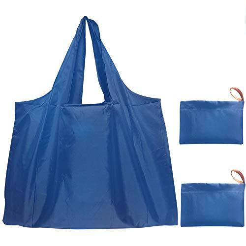 エコバッグ 折りたたみ 買い物袋 コンパクトバッグ,ecoバッグ 繰り返し洗える 大容量/耐久/頑丈/軽量/携帯便利、旅行/キャンプ/ショッピング/スポーツ用品の収納 2個セット(ブルー+ブルー)