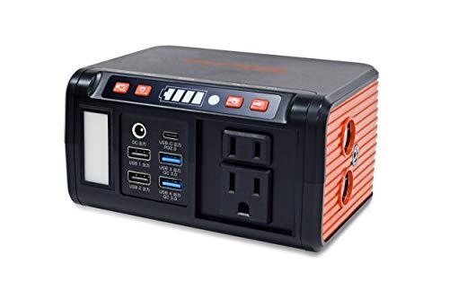 EVERBright ポータブル電源 メガパワーバンク(ACコンセント付)SSBACMPB 144×77×105mm 黒/オレンジ