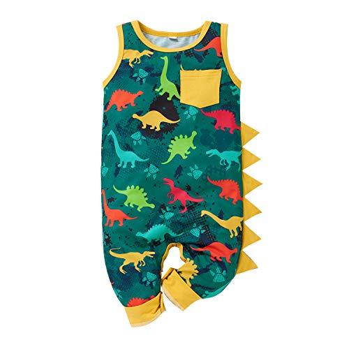 SANMIO Neugeborenes Baby Junge Strampler Overall Ärmelloser Bodysuit mit Dinosaurierhai-Aufdruck Sommerkleidung für Kleinkinder