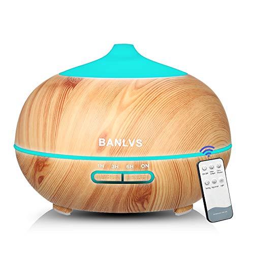 BANLVS Humidificador Aromaterapia Ultrasónico con Mando a Distancia, 400ML Difusor de Aceites Esenciales de 7-Color LED y 4 Temporizador, Purificador Aire Bebé para Hogar, Dormitorio