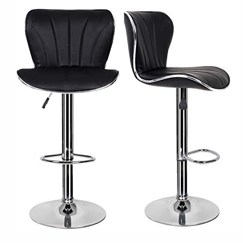EUCO Pair of Black Bar Stools,Breakfast Bar Stool with Padded Backrest&Chrome Footrest Swivel Gas Lift Elegant Leather Bar Stool for Kitchen/Breakfast Bar/Counter/Home Furniture