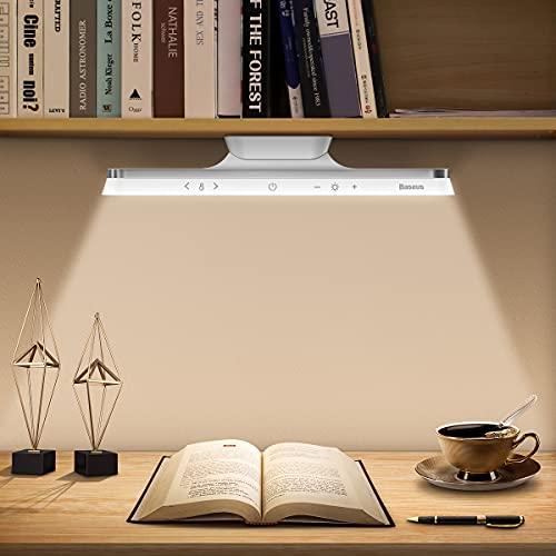Baseus Lampada da Scrivania LED, Lampada da Tavolo Magnetica con Sensore Wireless Touch e 3 Livelli di luminosita, Luce Scrivania con Porta di Ricarica USB per Lampada Lettura, Studio, Lavorare