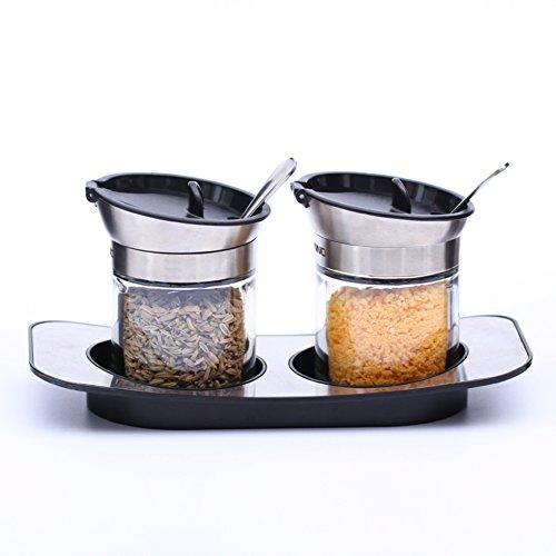 keuken levert de cruet jam saus peper saus flessen Spice potten met een lepel met een capuchon pak