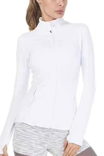 QUEENIEKE Women's Sports Define Jacket Slim Fit And Cottony-Soft Handfeel Size M Color Angle White