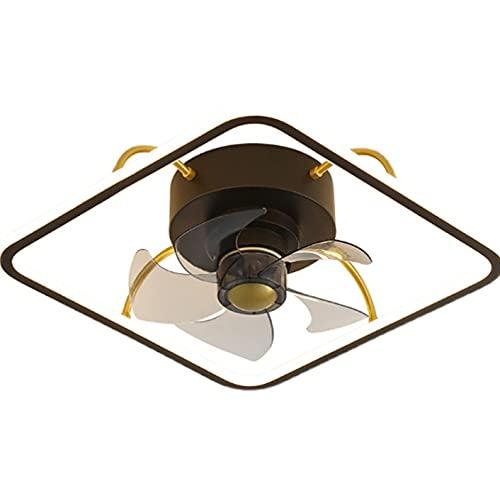 Mediterráneo Moderno Cuadrado Rectángulo Sala de estar Mesita de noche Aluminio AC220V Lámpara de techo Luz de techo Ventiladores Accesorios de cocina LED 34W45 * 45 * 14.5cm Ventilador invisible Luz