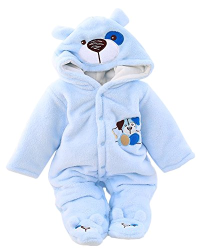Minetom Herbst Winter Verdickte Overalls Baby Mädchen Jungen Overall Cartoon Coral Fleece Kinderkleidung Warm Einteiler Spieler Hund Blau 59cm