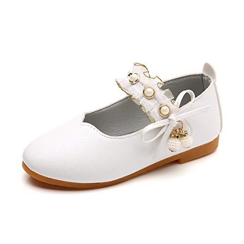 Sorliva - Zapatos de vestir para niña con punta redonda con perlas...