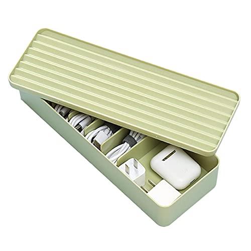 Pomrone Organizador Cables con Tapa, Caja De Almacenamiento De Línea De Datos Organizador Recoge Cables con 7 Compartimentos para Oficina En Casa