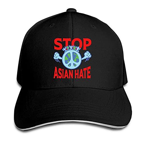 XCNGG Stop Asian Hate Deportes al Aire Libre Gorra Unisex Gorra Ajustable Gorra sándwich Moda Sombrero para el Sol Negro