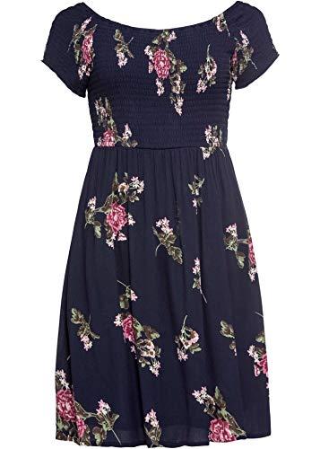bonprix Ansprechendes Carmen-Kleid mit gesmoktem Oberteil dunkelblau geblümt 52 für Damen
