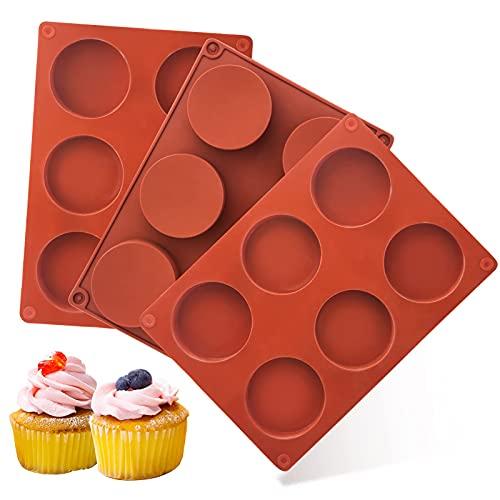 Chokladform i silikon, runda formar silikon, HXYA hålrumscylinder, chokladtäckta kaksilikonformar, bakformar för kakor, muffin, pudding, jello (3-pack)