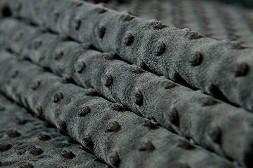 MINKY DOT – flauschiger Plüschstoff mit Noppen, Fleece, Meterware - Grau