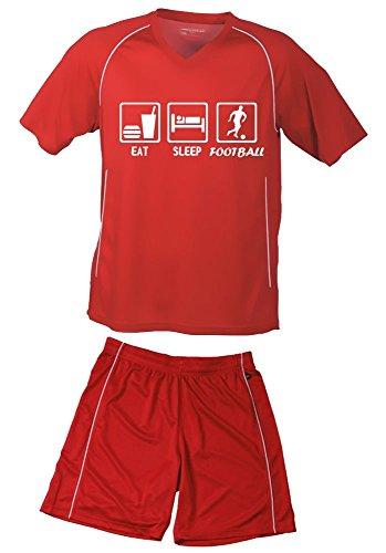 Coole-Fun-T-Shirts TRIKOTSET mit DEINEM Namen + Nummer ! Fussball EAT Sleep Football Kinder Trikot + Hose rot-rot, Kids 110-116 cm