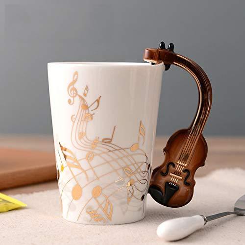 MHBY Becher, Keramik goldene Musiknote Tasse Geigengriff Kaffeetasse Gitarre Stil Tasse und Tasse Geschenk Tasse für Musikliebhaber