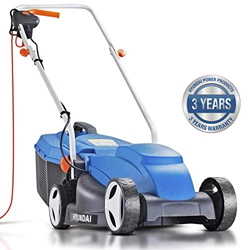Hyundai 32cm Lightweight Rotary Electric Lawn Mower, 320mm Cutting Width 1000w Corded Electric Lawnmower, 25L Grass Bag, Corded Lawn Mower, Foldable, 3 Year Warranty, Mowers & Outdoor Power Tools